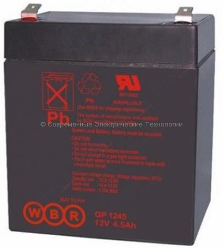 Аккумуляторная батарея 12В 4.5Ач (GP 1245 16W WBR)