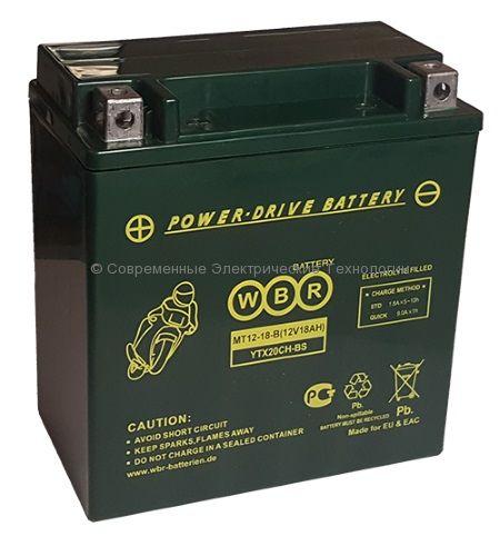 Аккумуляторная батарея стартерная WBR 12В 20Ач (MT 12-20-A)