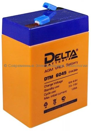 Аккумуляторная батарея DELTA 6В 4.5Ач (DTM 6045)