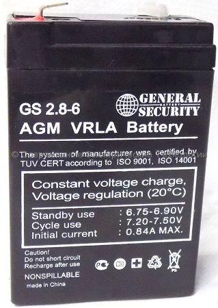 Аккумулятор General Security серии GS 6В 2.8Ач (GS 2.8-6)