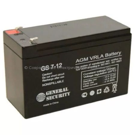 Аккумулятор General Security GS 12В 7Ач (GS 7-12)