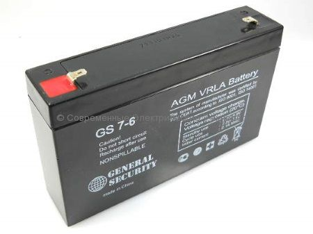 Аккумулятор General Security серии GS 6В 7Ач (GS 7-6)