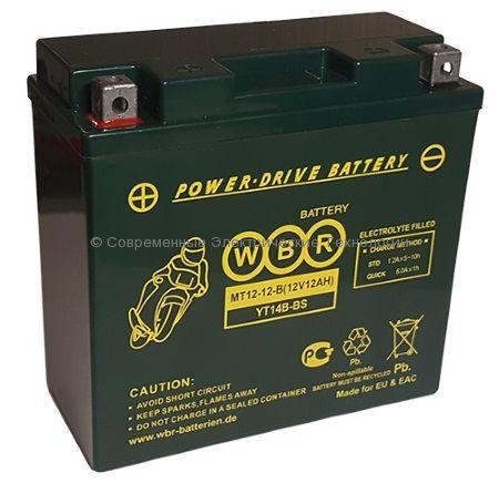 Аккумуляторная батарея стартерная WBR 12В 12Ач (MT 12-12-B)