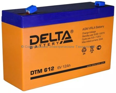 Аккумуляторная батарея DELTA 6В 12Ач (DTM 612)