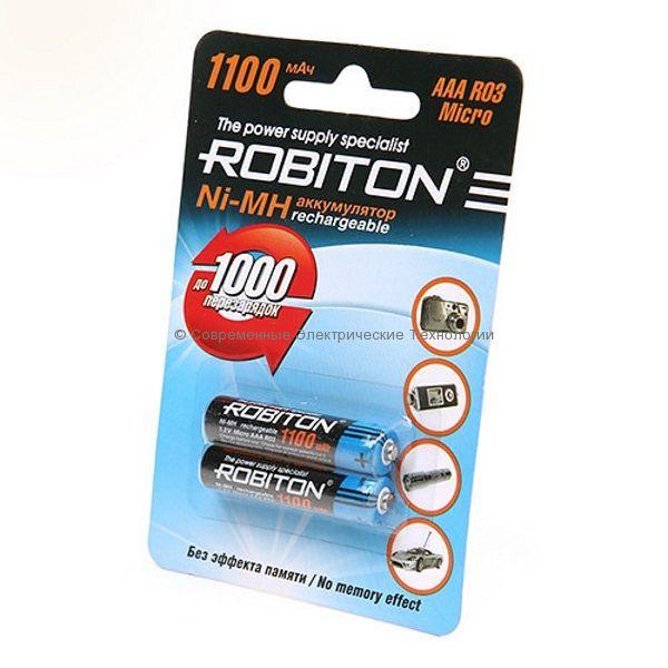 Аккумуляторы Ni-MH ёмкостью 1100мАч ROBITON 1100МНААА-BL2