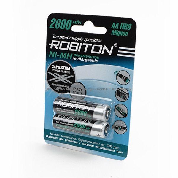 Аккумуляторы Ni-MH ёмкостью 2600мАч ROBITON (2600RTUМНАА BL2)