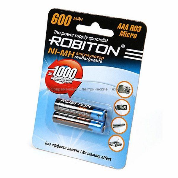 Аккумуляторы Ni-MH ёмкостью 600мАч ROBITON 600МНААА-BL2