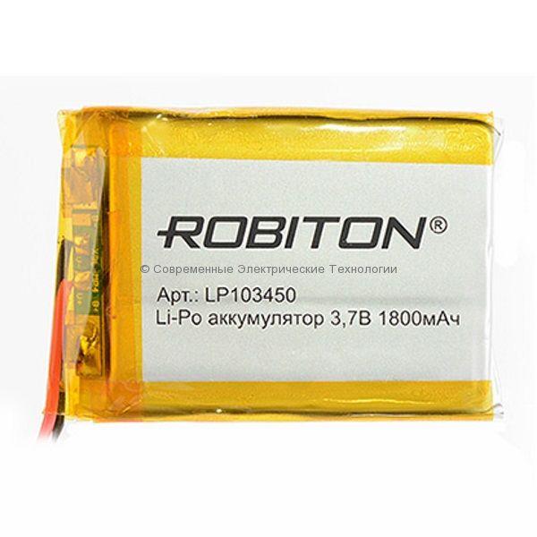 Li-Po аккумулятор LP103450 3.7В 1800мАч Robiton с защитной платой