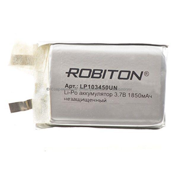 Li-Po аккумулятор 3.7В 1850мАч LP103450UN Robiton без защиты