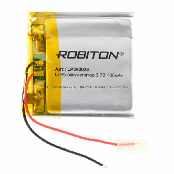 Li-Po аккумулятор LP303030 3.7В 180мАч Robiton с защитной платой