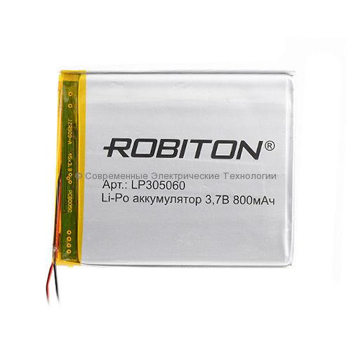 Li-Po аккумулятор LP 305060 3.7В 800мАч Robiton с защитной платой