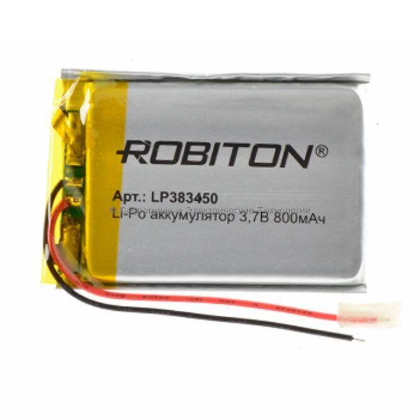 Li-Po аккумулятор LP 383450 3.7В 800мАч Robiton с защитной платой