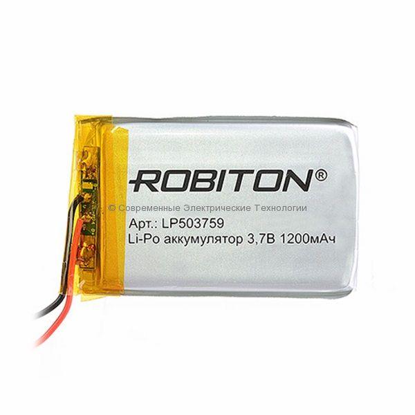 Li-Po аккумулятор LP503759 3.7В 1200мАч Robiton с защитой