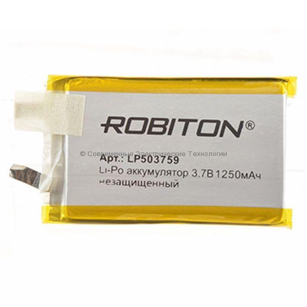 Li-Po аккумулятор LP503759UN 3.7В 1250мАч Robiton без защиты