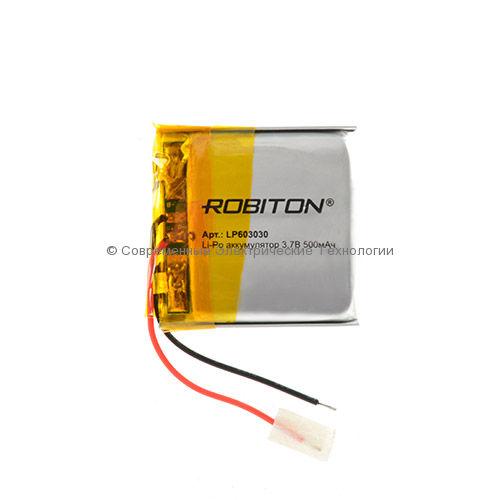 Li-Po аккумулятор LP 603030 3.7В 500мАч Robiton с защитной платой