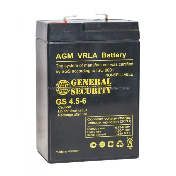 Аккумулятор General Security 6В 4.5Ач (GSL 4.5-6)