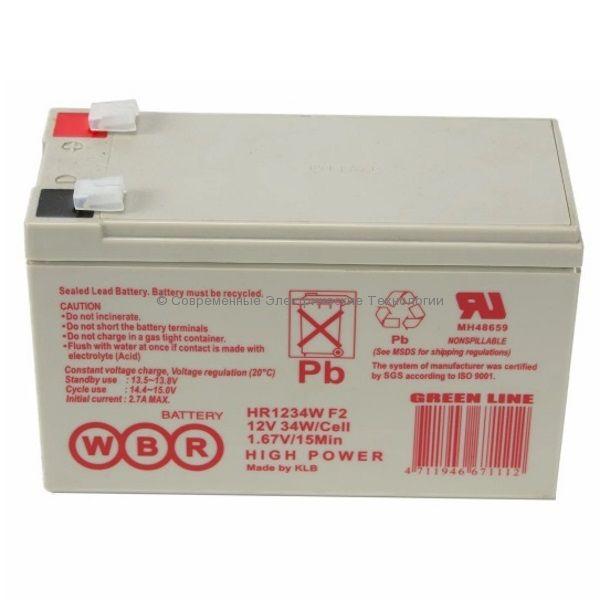 Аккумулятор герметичный WBR 12В 9Ач (HR 1234W F2)