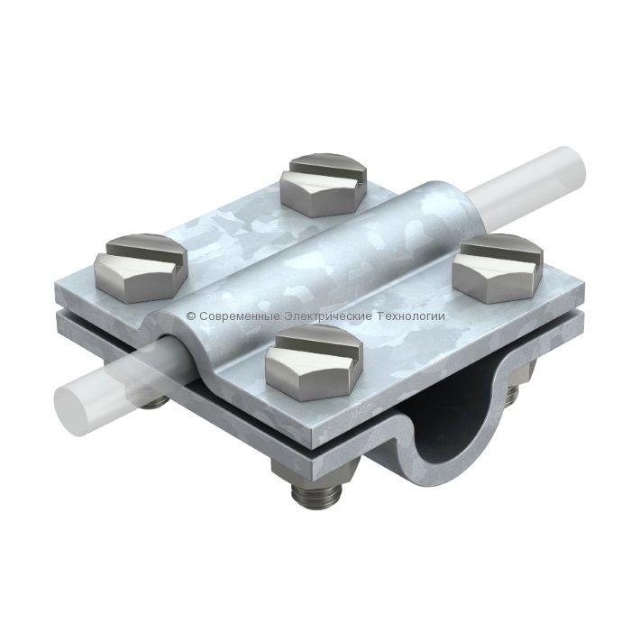 Зажим соединительный стержень-полоса/пруток, 3 пластины нержавеющий