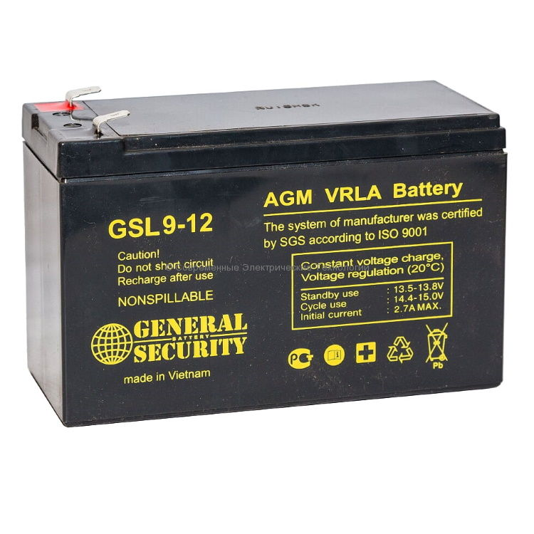 Аккумулятор General Security 12В 9Ач (GSL 9-12)